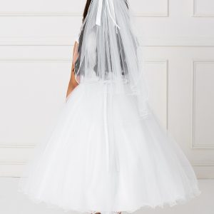 Gorgeous White Tea Length First Communion Dress with Lace Satin and Tulle