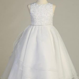 Half Size First Communion Dress with Embroidered Applique & Organza
