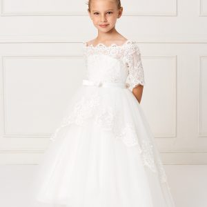 Ivory Floor Length First Communion Dress with Lace Sleeves