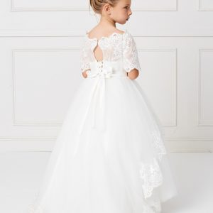 Ivory Floor Length First Communion Dress with Lace Sleeves for Girls