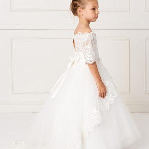 Ivory Floor Length First Holy Communion Dress with Lace Sleeves