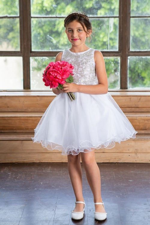 Knee Length Girl's First Communion Dress with Ruffled Skirt