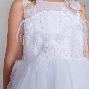 Knee Length White Lace Bodice First Communion Dress