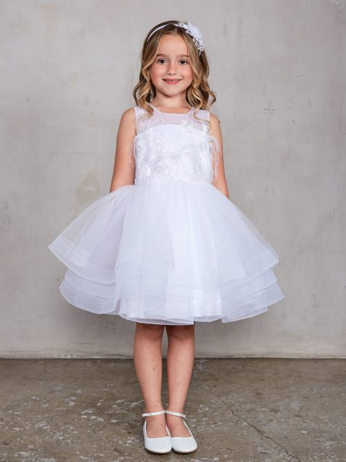 Short Length First Communion Dress with Layered Skirt