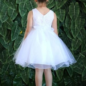 LACE TOP WITH FLOWER PATCH OPEN WAIST First Communion Dress Knee Length