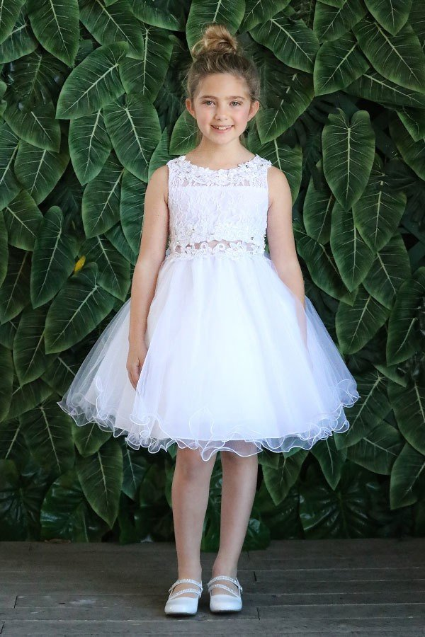 Knee Length Girl's First Communion Dress Lace Top