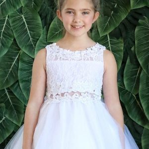 LACE TOP WITH FLOWER PATCH WAIST First Communion Dress