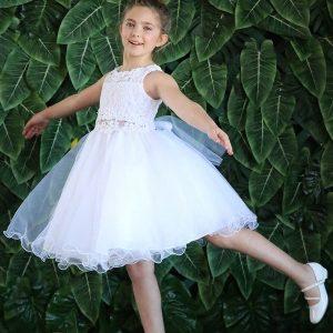 LACE TOP WITH FLOWER PATCH WAIST First Communion Dress Short Skirt