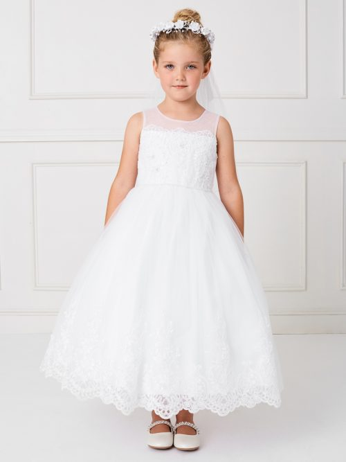 Ankle Length First Communion Dress Illusion neckline with lace hem