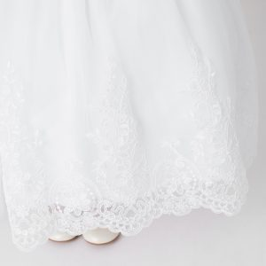 Lace First Communion Dress with Mesh Scallop Hem