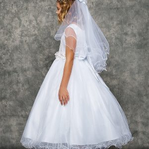 Lace First Communion Dress with Tulle Glitter Skirt