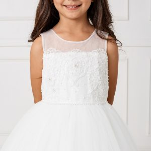 Lace First Holy Communion Dress with Mesh