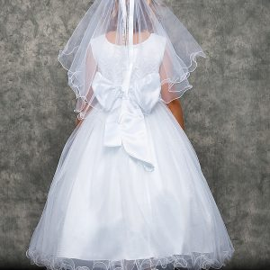 Lace Glitter First Communion Dress with Satin Bow