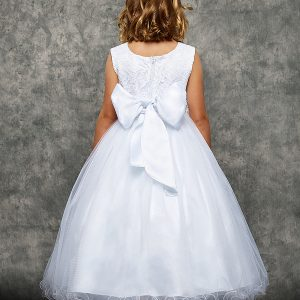 Lace Glitter First Communion Dress with Satin Bow Ruffle Skirt