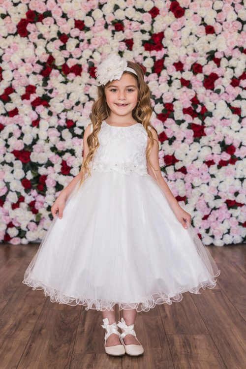 Lace Glitter First Communion Dress with Tulle Skirt