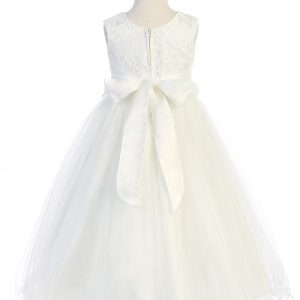 Lace Glitter Tulle First Communion Dress with Bow