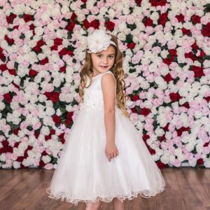 Lace Glitter Tulle Tea Length First Communion Dress