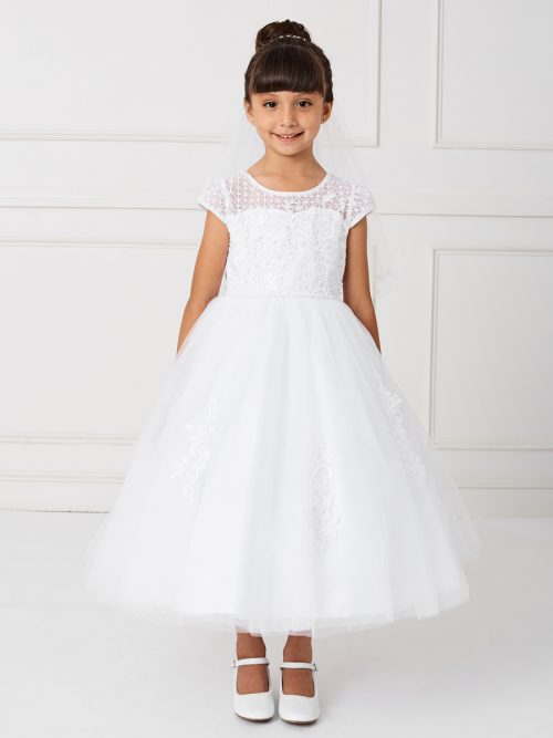 Holy Communion Dress with Cap Sleeves and Lace Patches