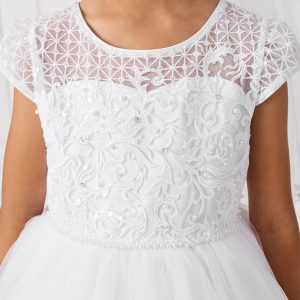 Lace Satin Mesh Cap Sleeves First Communion Dress Bodice