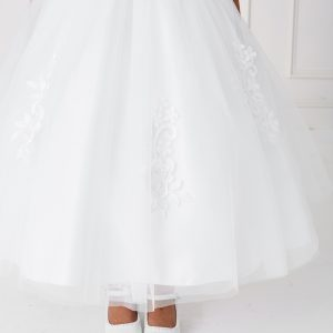 Lace Satin Mesh Cap Sleeves First Communion Dress Skirt