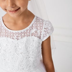 Lace Satin Mesh First Communion Dress with Cap Sleeves