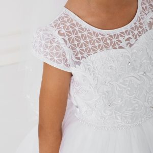 Lace Satin Mesh White First Communion Dress with Sleeves