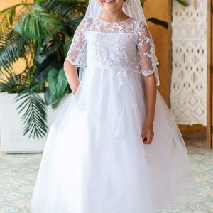 Lace Top with sleevesFull Length First Communion Dress