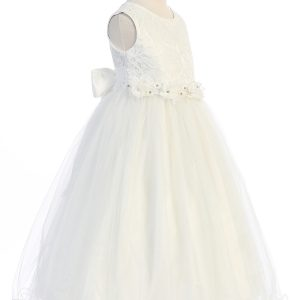 Lace Tulle First Communion Dress with Glitter Skirt