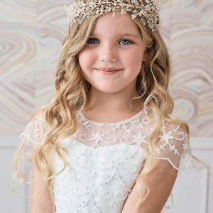 Large Gold Crystal Spray First Communion Hairband