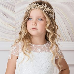 Large Gold Spray First Communion Hairband