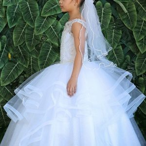 Long Length Beautiful First Communion Gown with Layered Organza Skirt and Beaded Bodice