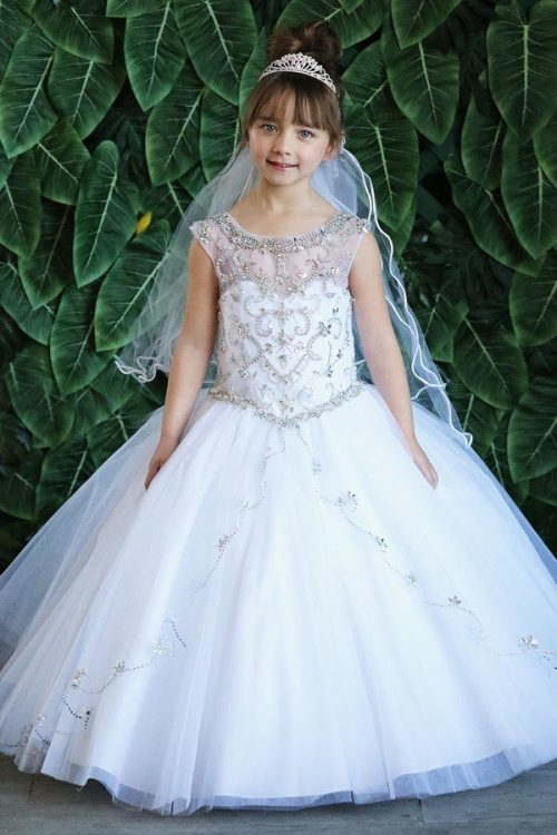Long Length First Communion Gown with Intricate Beading