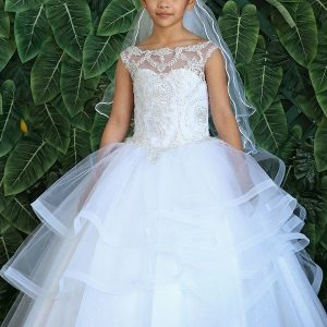 First Communion Gown with Layered Organza Skirt and Beaded Bodice