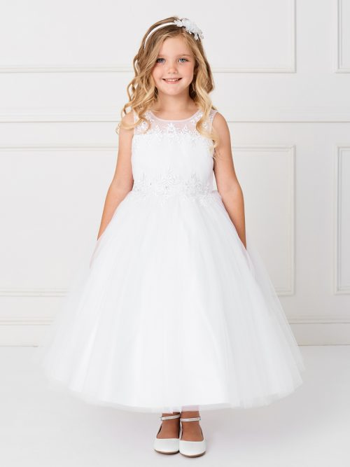 Modern Ankle Length First Communion Dress with Lace Satin and Mesh