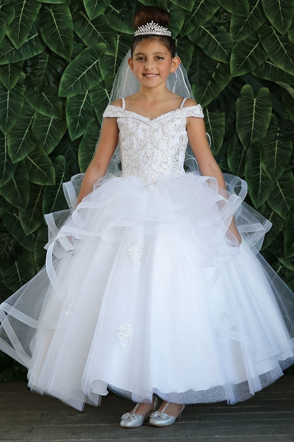 First Communion Gown with Layered Organza Skirt