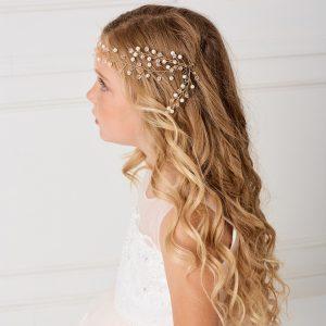 Modern SImple Gold Crystal Spray First Communion Hairband