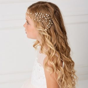 Modern SImple Gold Crystal Spray First Communion Hairband