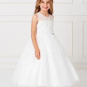 Modern Tea Length White Lace Organza First Communion Dress