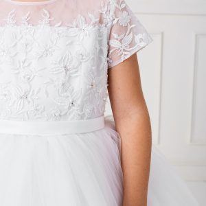 Modern White Lace Satin and Mesh First Communion Dress with Short Sleeves