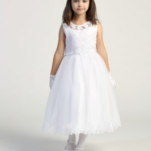 Modern first communion dress Embroidered tulle bodice with flower appliques
