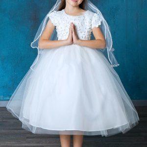 Cap Sleeve Flower Top First Communion Dress