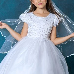 New First Communion Dress Flower and Pearl Top