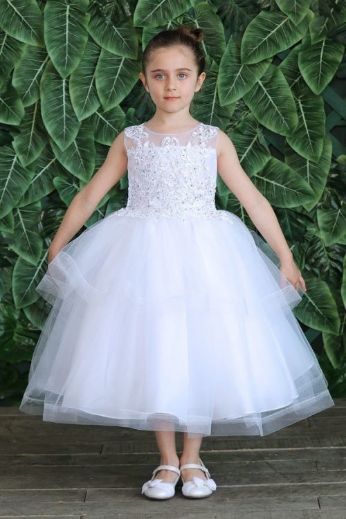 First Communion Dress Lace Top with Horsetail Layered Skirt