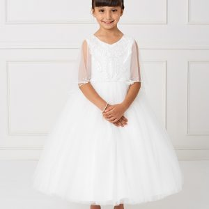 New Ivory First Communion Dress with Organza Cape to Cover Shoulders