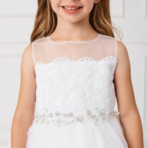 New Lace and Tulle First Communion Dress with Sash