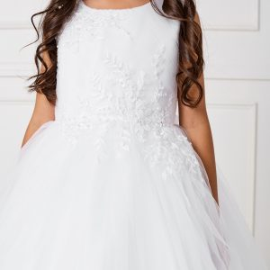 New Style Ankle Length Lace Mesh First Communion Dress for Girls