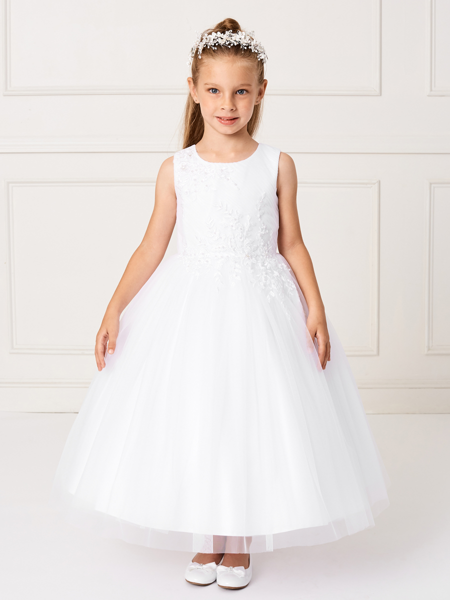 New Style Ankle Length Lace Mesh First Communion Dress