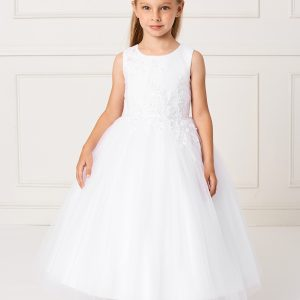 New Style Ankle Length Lace Mesh White First Communion Dress