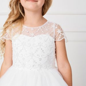 New Style Beaded Bodice Tulle First Communion Dress