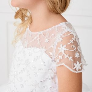 New Style Beaded Short Sleeves Tulle First Communion Dress